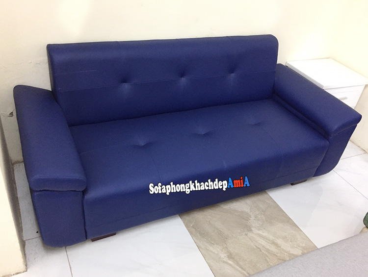 Hình ảnh ghế sofa văng da đẹp phòng khách màu xanh cô ban độc đáo