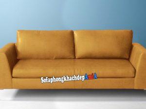 Hình ảnh Ghế sofa văng da màu da bò đẹp hiện đại cho phòng khách nhỏ