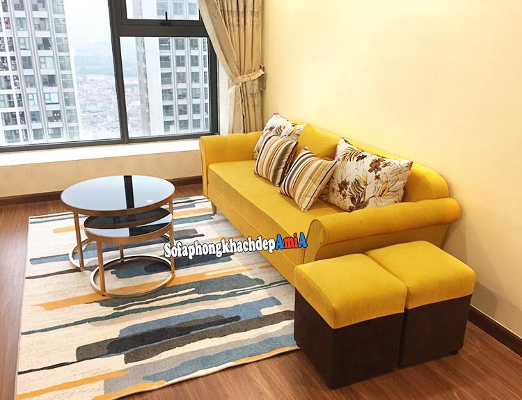 Hình ảnh Mẫu sofa nỉ đẹp hiện đại phòng khách chung cư nhỏ xinh xắn