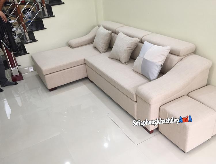 Hình ảnh Mẫu sofa nỉ đẹp hiện đại phòng khách nhỏ xinh nhà phố