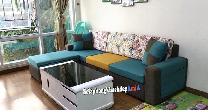 Hình ảnh Mẫu sofa phòng khách hiện đại chất liệu nỉ phối hợp màu sắc mang vẻ đẹp trẻ trung, năng động và tươi mới
