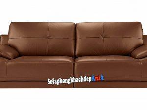 Hình ảnh Ghế sofa da màu da bò dạng văng nhỏ xinh cho nhà nhỏ, chung cư nhỏ, không gian nhỏ