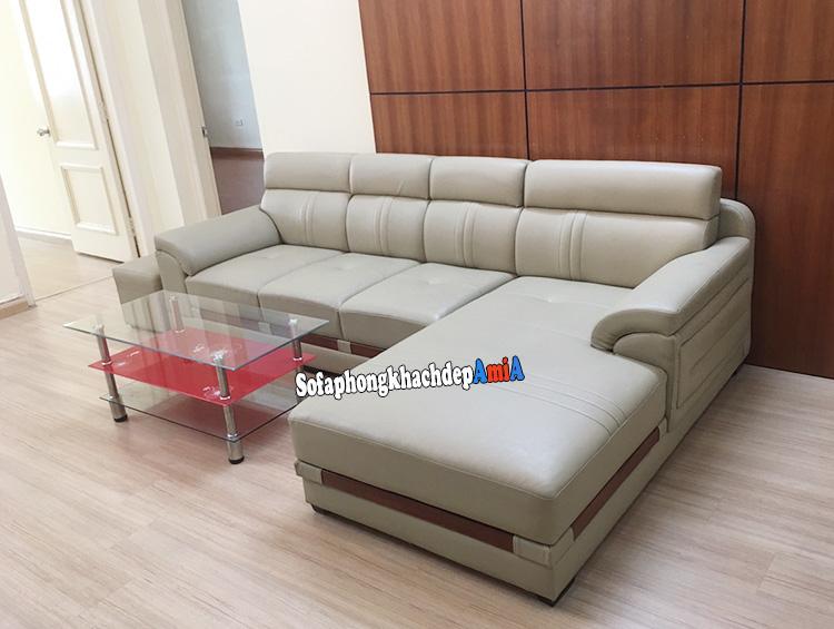 Hình ảnh Sofa da nhập khẩu Malaysia thiết kế hình chữ L tiện lợi cho phòng khách rộng