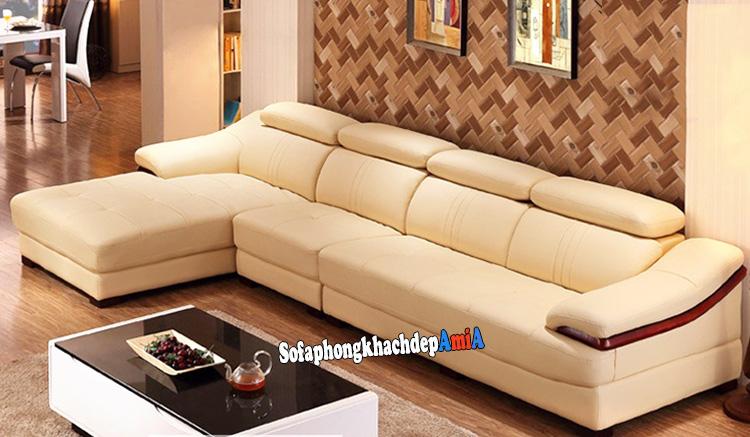 Hình ảnh Sofa da phòng khách đẹp da bo nhap khau cao cấp thiết kế hình L