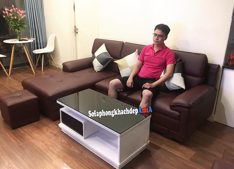 Hình ảnh Sofa da phòng khách đẹp màu da bò hiện đại cho nhà chung cư đẹp