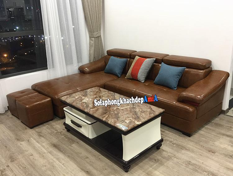 Hình ảnh Sofa da phòng khách màu da bò nhà chung cư hiện đại