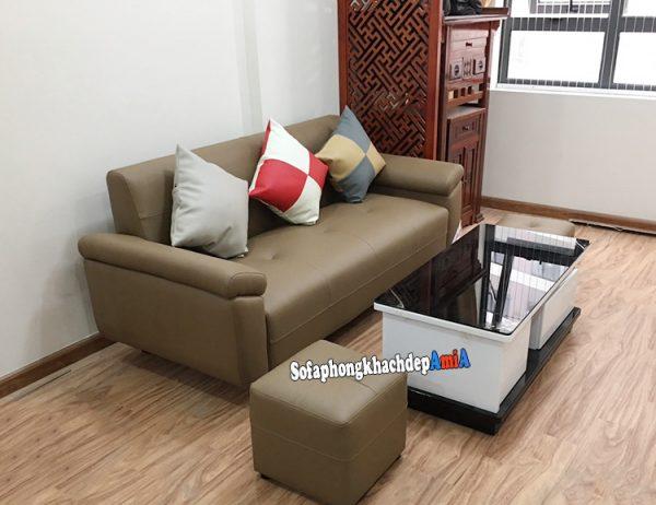 Hình ảnh Sofa da phòng khách nhỏ gọn dạng văng 1m8 cho căn hộ chung cư nhỏ xinh