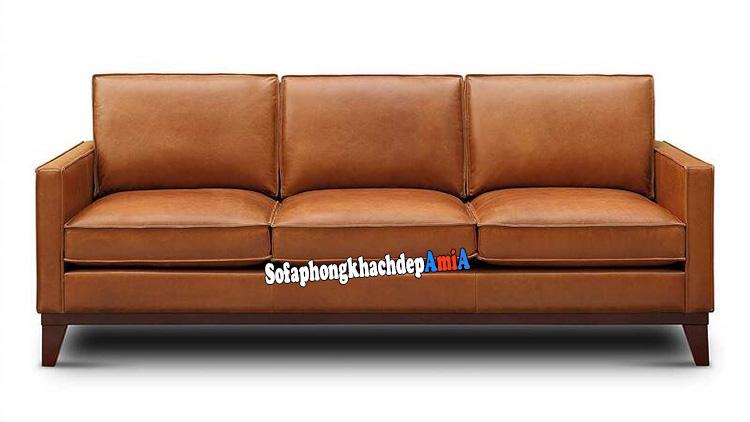 Hình ảnh Sofa da phòng khách nhỏ màu da bò thiết kế dạng ghế sofa văng đẹp xinh
