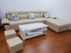 Hình ảnh sofa đẹp cho phòng khách hiện đại bài trí sát tường và tận dụng diện tích phần góc
