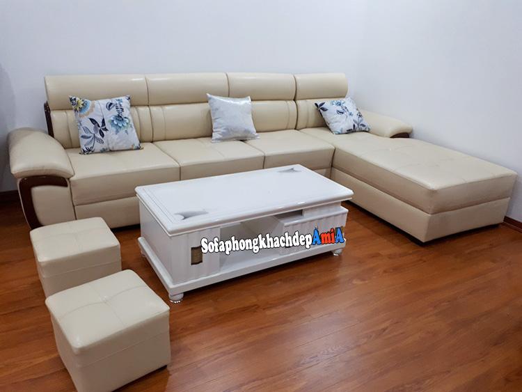 Ghế sofa phòng khách bọc da đẹp hiện đại AmiA SFD142