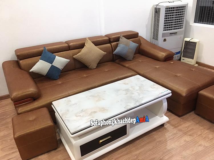 Hình ảnh Sofa màu da bò nhập khẩu đẹp hiện đại và sang trọng