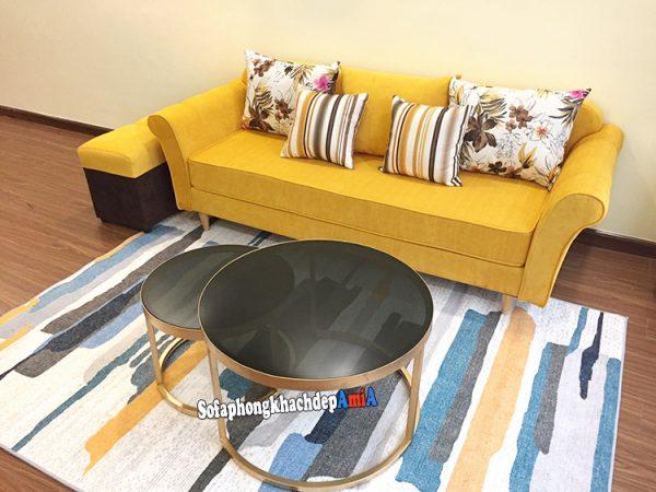 Hình ảnh Ghế sofa nỉ cho phòng khách nhỏ thiết kế dạng văng