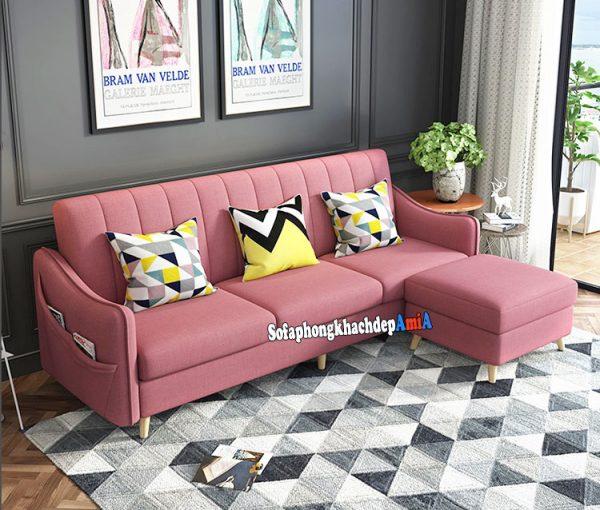 Hình ảnh Sofa nỉ kích thước nhỏ phòng khách màu hồng xinh xắn