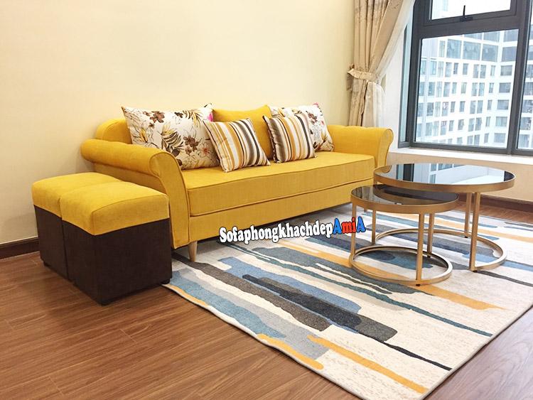 Hình ảnh Sofa nỉ nhỏ cho phòng khách đẹp nhà chung cư hiện đại