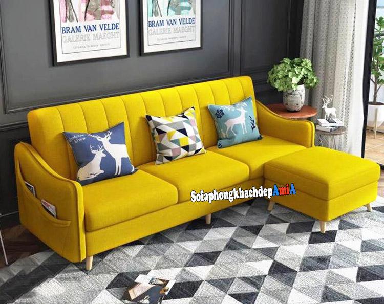Hình ảnh Sofa nỉ nhỏ phòng khách đẹp màu vàng nổi bật, hiện đại rất được yêu thích