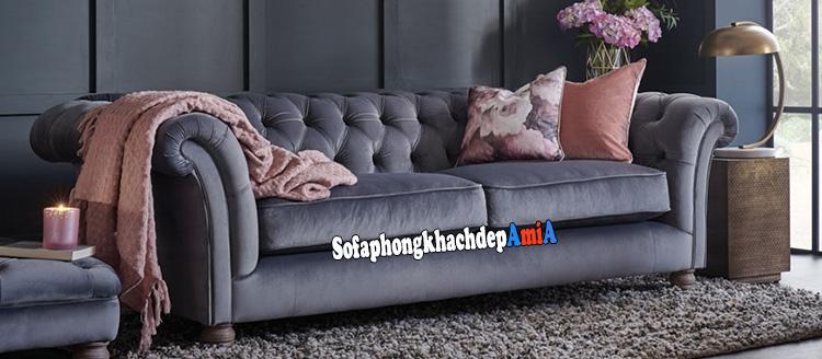 Hình ảnh Sofa nỉ phòng khách đẹp giá rẻ tại Hà Nội kiểu dáng tân cổ điển