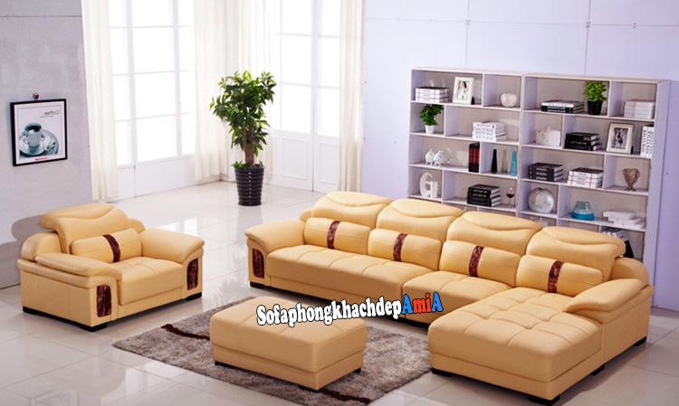 Hình ảnh Sofa phòng khách bằng da màu da bò cho ngôi nhà thêm xinh