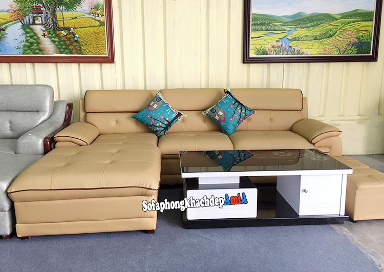 Hình ảnh sofa phòng khách da nhập khẩu đẹp hiện đại đang bán tại Tổng kho sofa AmiA
