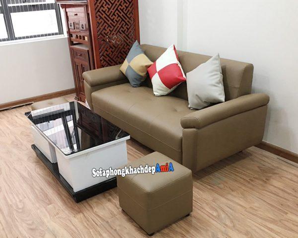 Hình ảnh Sofa văng da phòng khách nhỏ xinh với hình ảnh thực tế nhà khách hàng