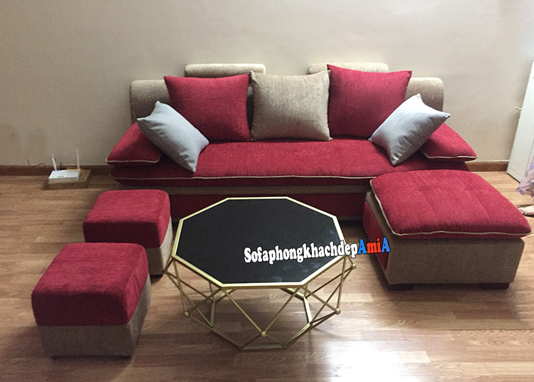 Hình ảnh Sofa văng nỉ giá rẻ Hà Nội kích thước nhỏ tiết kiệm diện tích căn phòng khách đẹp gia đình