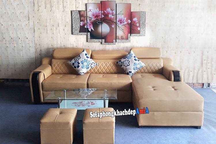 Hình ảnh Sopha da phòng khách đẹp hiện đại hình chữ L 3 chỗ