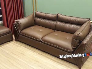 Hình ảnh Sopha da phòng khách nhỏ dạng văng kèm đôn lớn thiết kế hiện đại, nhỏ xinh