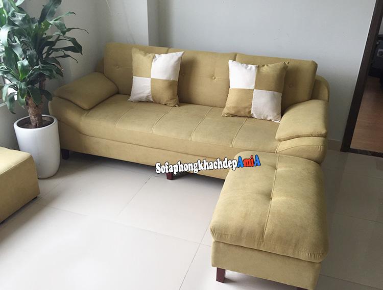 Hình ảnh Sopha phòng khách đẹp Nguyễn Tuân dạng ghế sofa văng kèm đôn lớn
