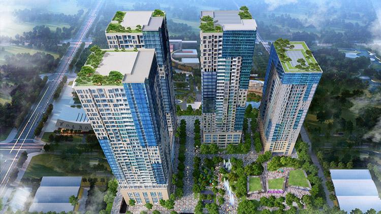 Hình ảnh tổng quan dự án chung cư GoldSeason Nguyễn Tuân quy mô lớn với nhiều căn hộ chung cư đẹp hiện đại