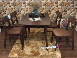 Hình ảnh tổng quan mẫu bàn ăn 4 ghế hiện đại và sang trọng với chất liệu gỗ Sồi