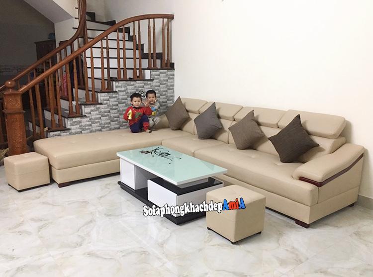 Hình ảnh Bộ bàn ghế sofa phòng khách da nhập khẩu cao cấp