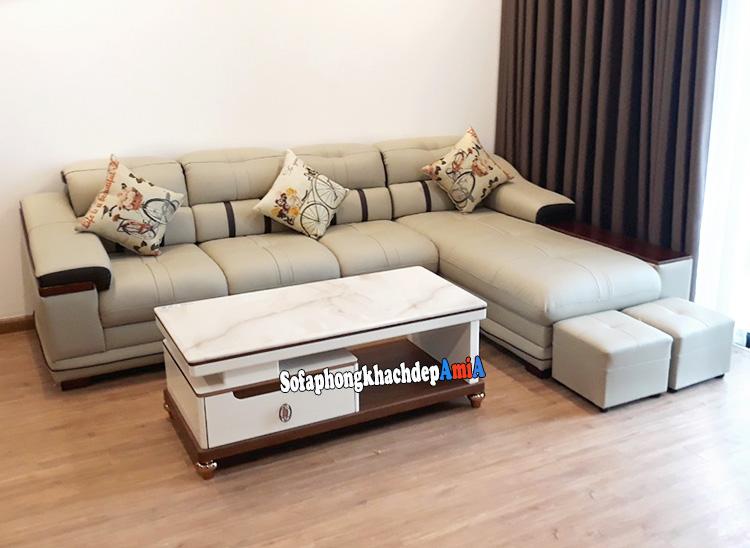 Hình ảnh Sofa da phòng khách cao cấp nhập khẩu