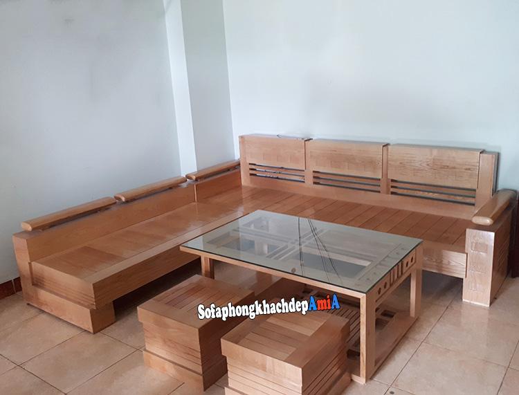 Hình ảnh Bộ sofa gỗ chữ L cho phòng khách đẹp gia đình