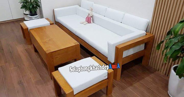 Hình ảnh Ghế sofa gỗ phòng khách dạng văng kèm đôn ghế đều tích hợp đệm nỉ