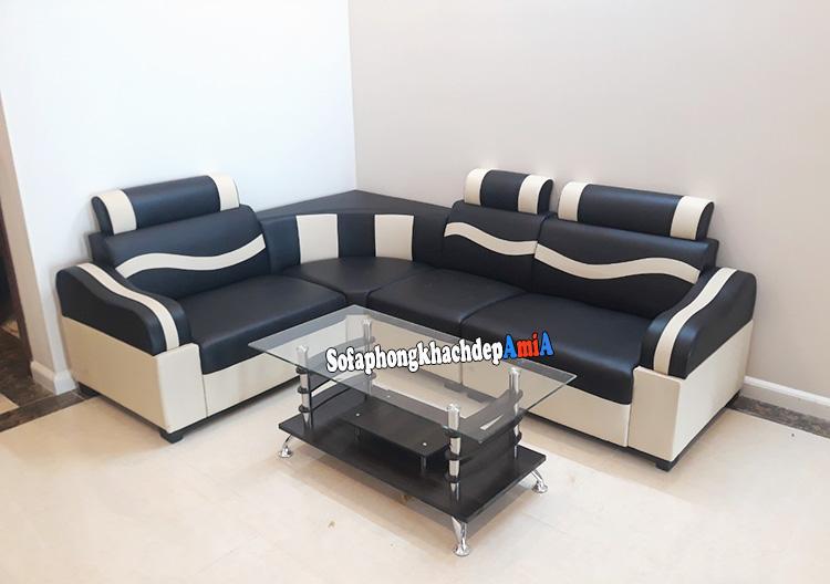 Hình ảnh Ghế sofa góc giá rẻ cho phòng khách nhỏ xinh kết hợp bàn trà gỗ kính