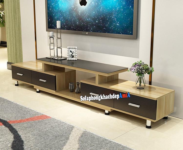 Hình ảnh kệ để tivi bằng gỗ ép cho phòng khách đẹp