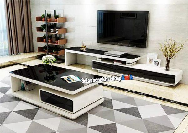 Hình ảnh Kệ để tivi bằng gỗ phòng khách đẹp hiện đại