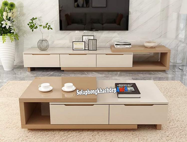 Hình ảnh kệ tivi gỗ hiện địa cho nhà chung cư đẹp sang trọng AmiA KTV239
