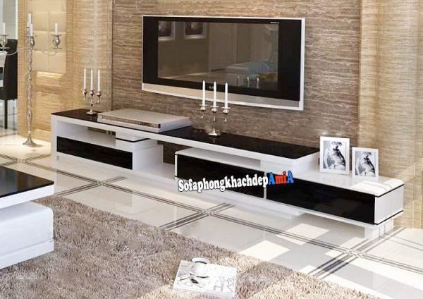 Hình ảnh kệ tivi gỗ hiện đại phòng khách đẹp gia đình