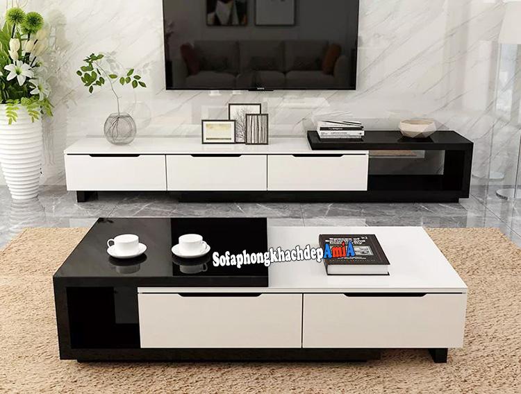 Hình ảnh Kệ tivi gỗ mặt kính cho phòng khách đẹp