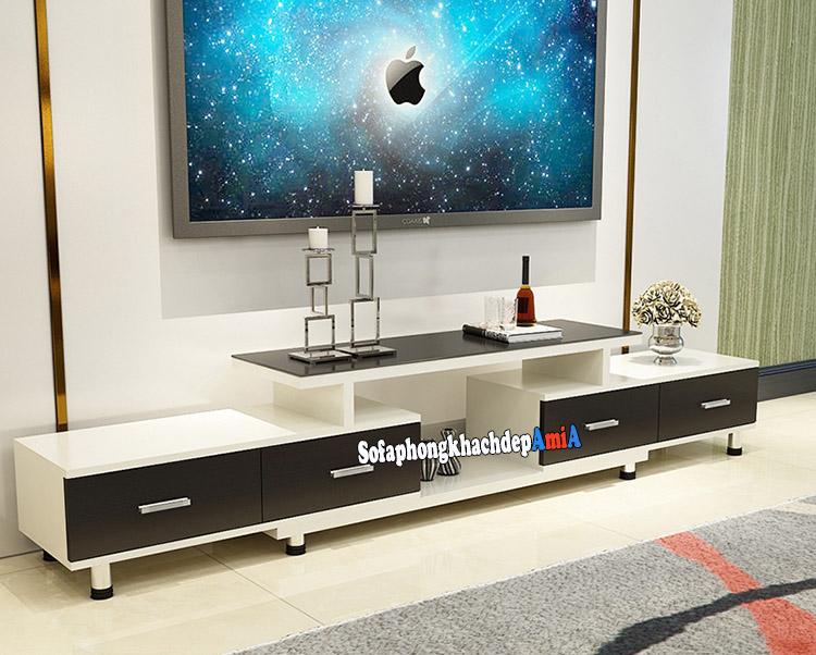 Hình ảnh Kệ tivi gỗ mặt kính đẹp hiện đại cho phòng khách