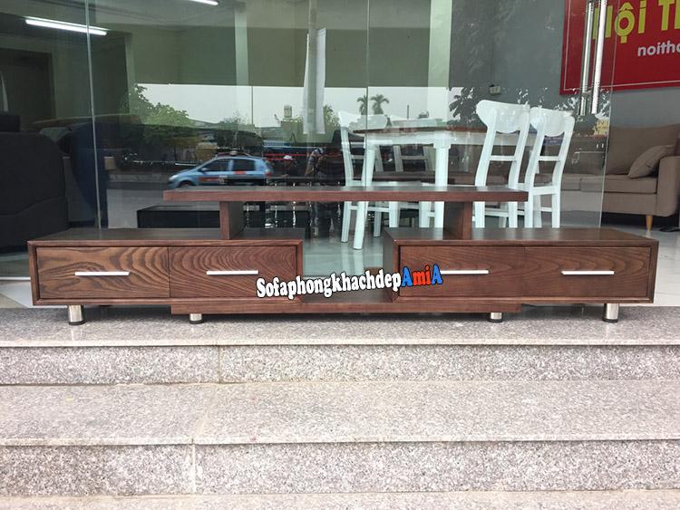 Hình ảnh Mẫu kệ tivi gỗ Sồi tự nhiên cho phòng khách cao cấp