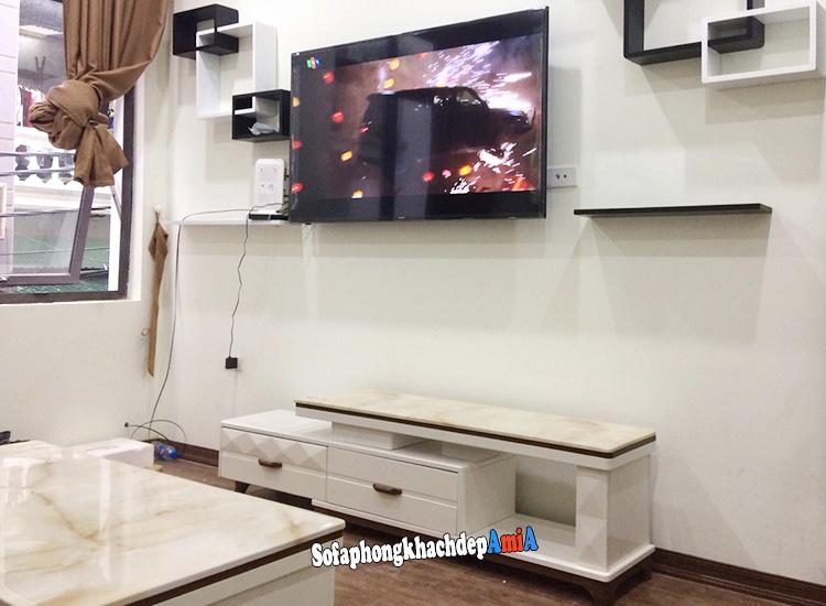 Hình ảnh Kệ tivi phòng khách mặt đá cao cấp đẹp Hà Nội