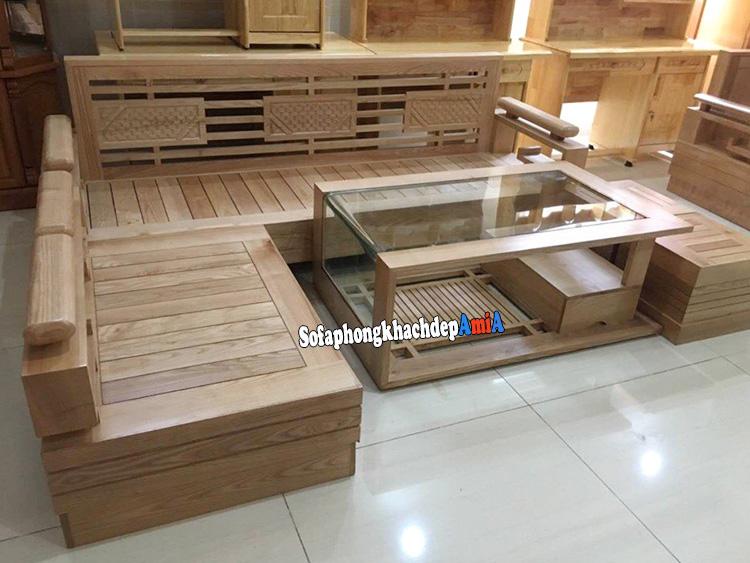 Hình ảnh Sofa gỗ góc đẹp phòng khách thiết kế hình chữ L hiện đại