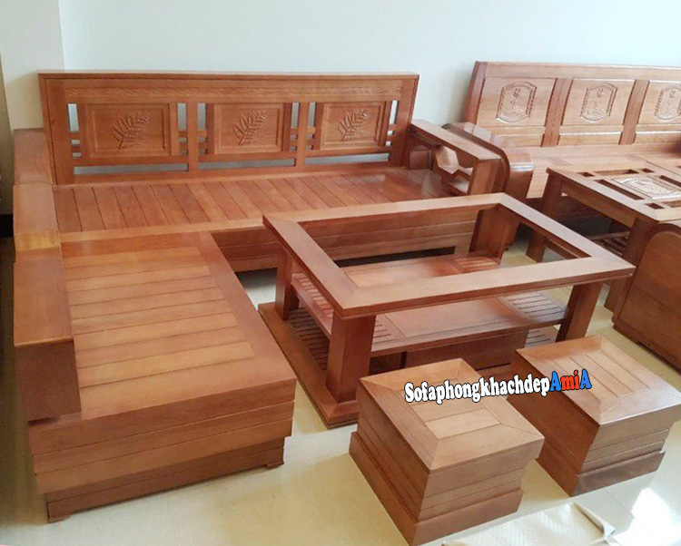 Hình ảnh Sofa gỗ góc phòng khách đẹp hiện đại