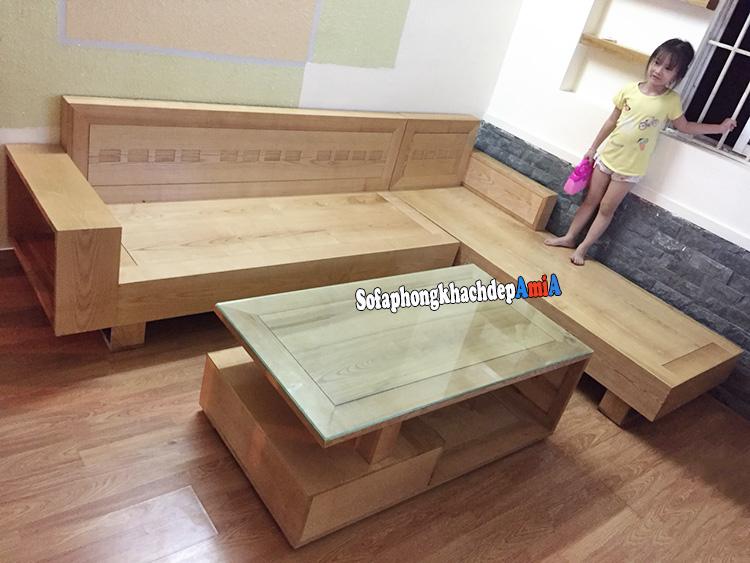 Hình ảnh Sofa góc bằng gỗ cho phòng khách đẹp thiết kế hình chữ L