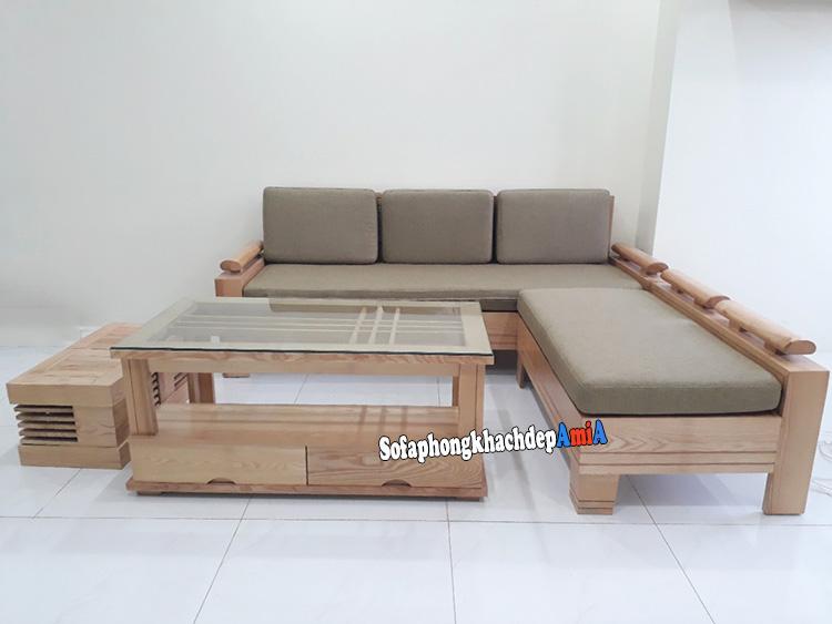 Hình ảnh Sofa góc gỗ đệm phòng khách đẹp thiết kế hình chữ L tiện lợi