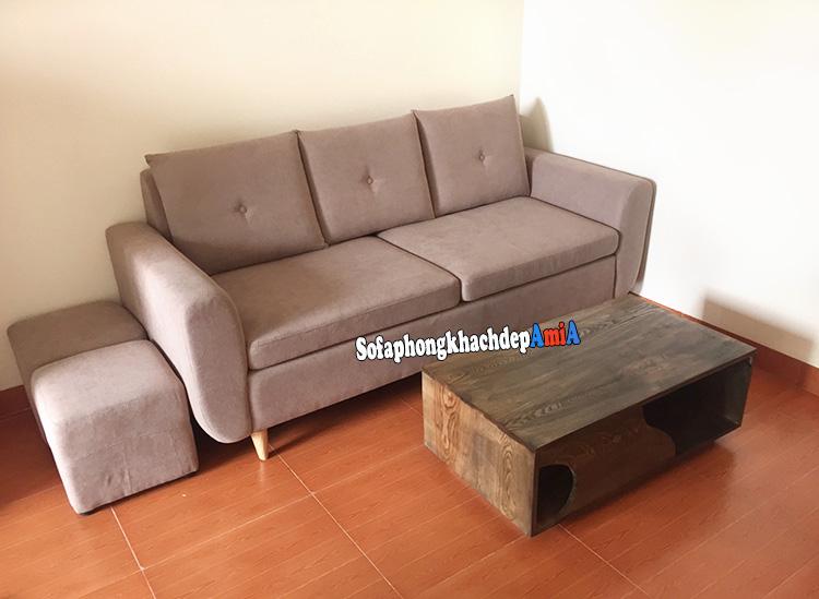 Hình ảnh Sofa văng nỉ nhỏ cho phòng khách nhỏ bài trí gọn gàng ở phía góc căn phòng