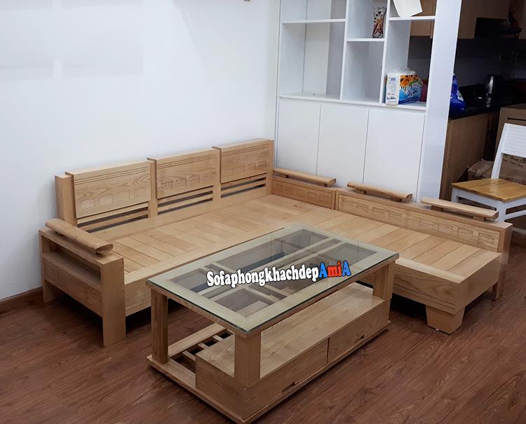 Hình ảnh Bàn ghế sofa gỗ góc phòng khách đẹp hiện đại