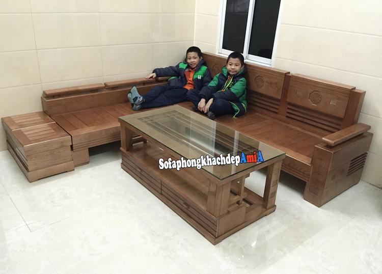 Hình ảnh Bộ ghế sofa gỗ góc phòng khách đẹp tại Hà Nội