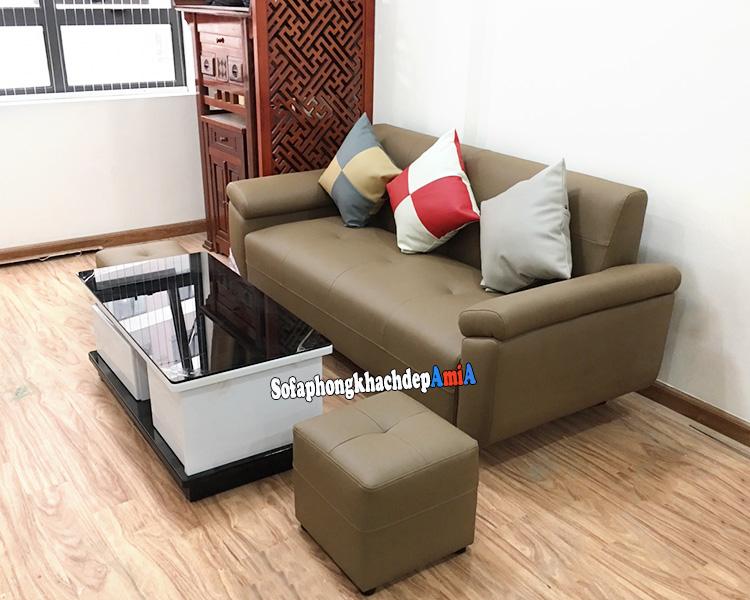 Hình ảnh Ghế sofa văng cho phòng khách nhỏ xinh kết hợp bàn trà hình chữ nhật xinh xắn